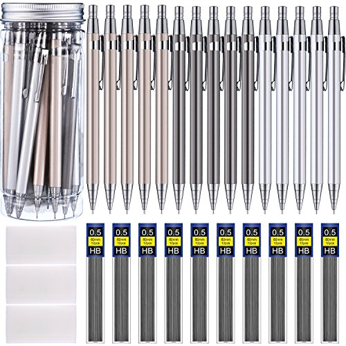 Boao 15 Pieces Metal Mechanical Pencils, 10 Tubes of Lead Refills and 3 Pieces Erasers with Clear Plastic Bottle (0.5 mm) by Boao