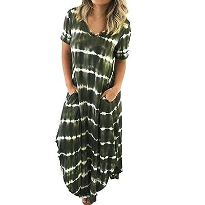 Stripe Dress-Han Shi Womens Casual Split Pocket Short Sleeved Irregular Long Sundress at Women's Clothing store [5Bkhe0803548]