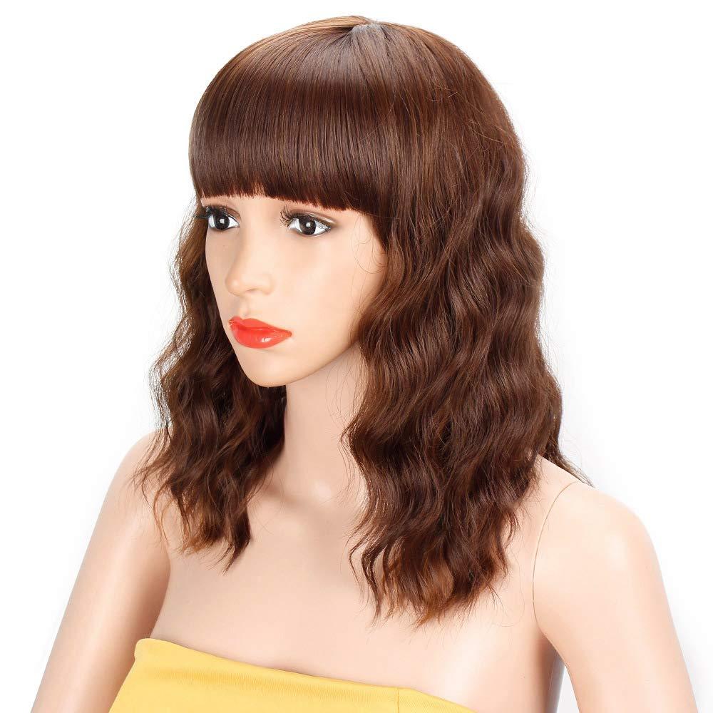Amazoncom Aisi Hair Short Wavy Bob Wig With Bangs Colored Brown