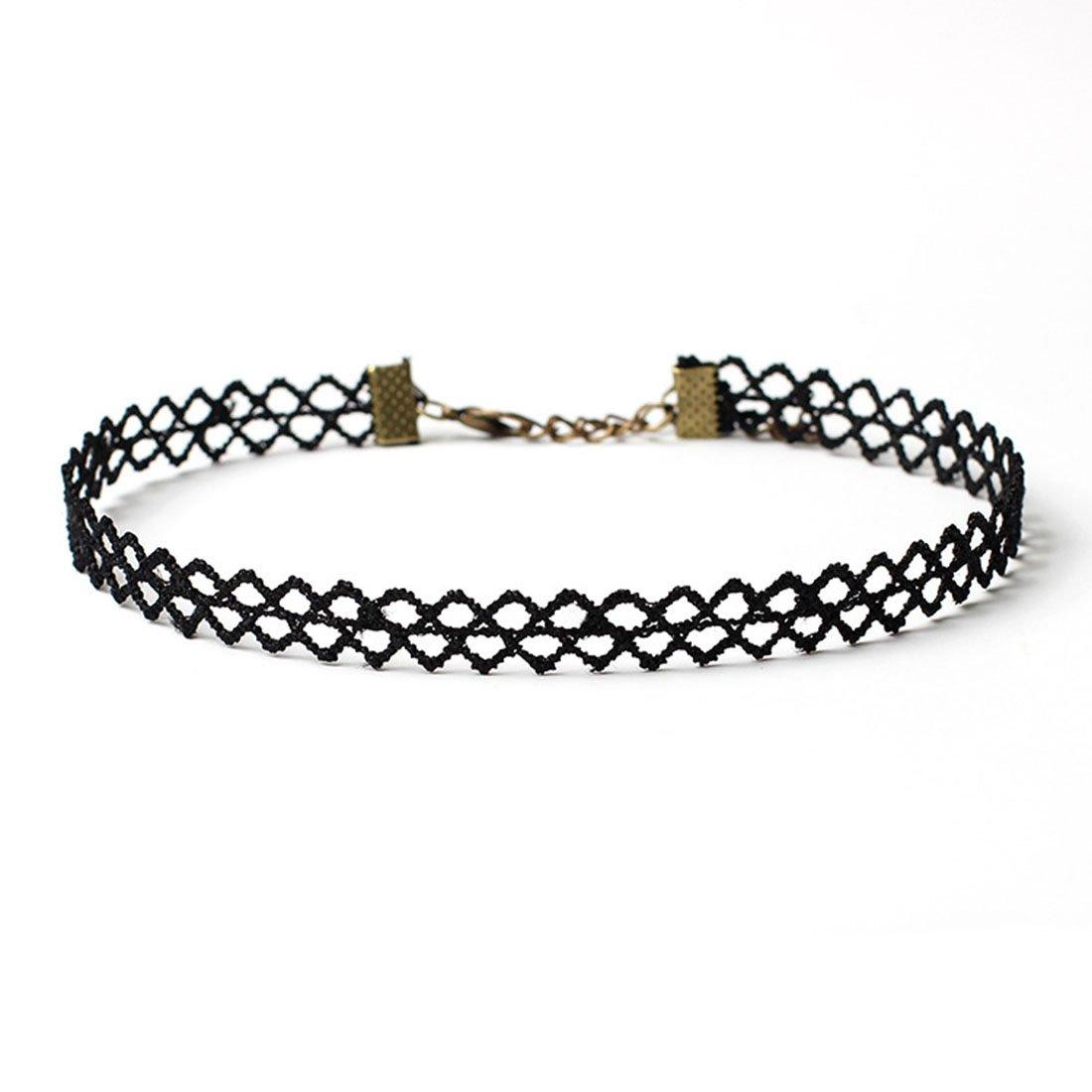 Macsen Womens Girls Choker Collar Necklace Gothic Simple Accessories Ornaments Poirot False Collar Jewelry Set 10 PCS