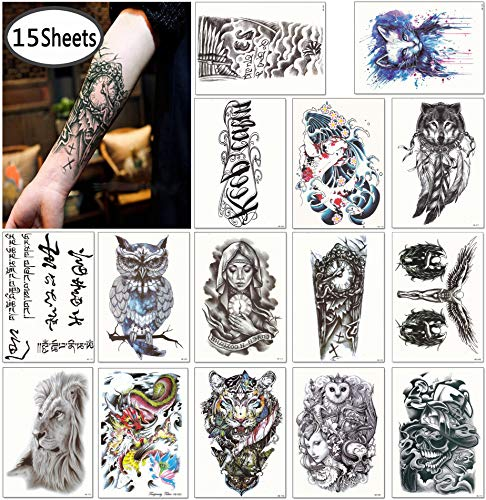 DaLin Large Temporary Tattoos Half Arm Tattoo Sleeves 15 Sheets, Robot Arm, Dead Skull, Koi Fish, Lion, Owl, Dragon, Tiger and more ()