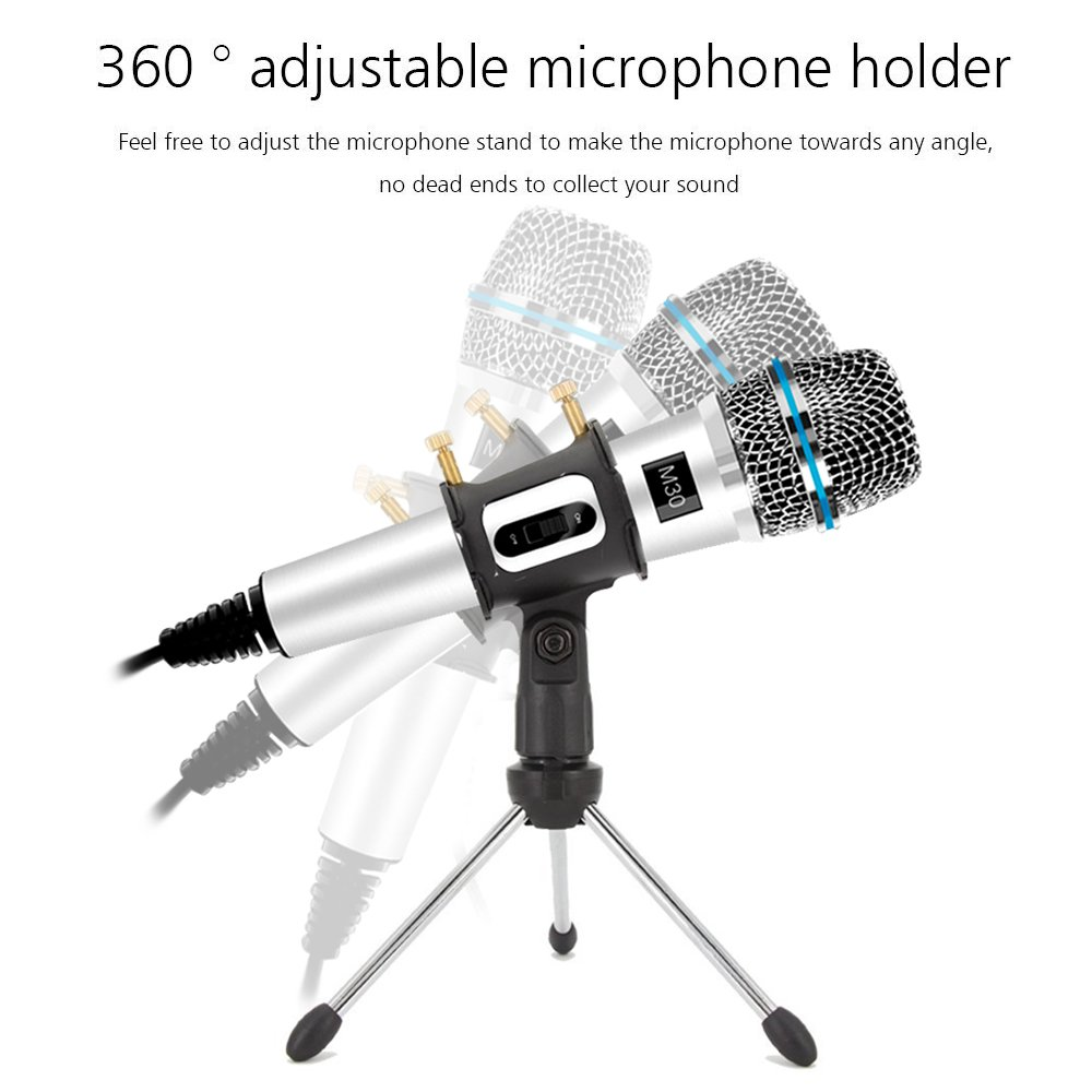 Professional Condenser Microphone Recording with Stand for PC Computer iPhone Phone Android Ipad Podcasting M30-White Online Chatting Mini Microphones by XIAOKOA