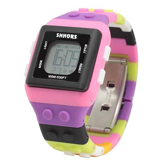 CursOnline® Reloj Pulsera Digital de pulsera unisex niño/adulto SHHORS sh-0286 Water Resistant Watch ladrillos Girl Nueva Versión Slim: Amazon.es: Relojes