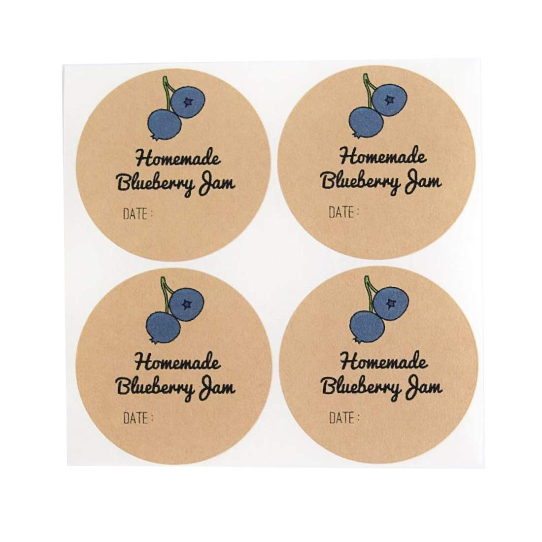 """Homemade Blueberry Jam Labels for Mason Jars by Once Upon Supplies, Blueberry Jam Canning Labels, Canning Supplies, 2"""" Size for Regular Mouth Jars, 40 Pcs"""