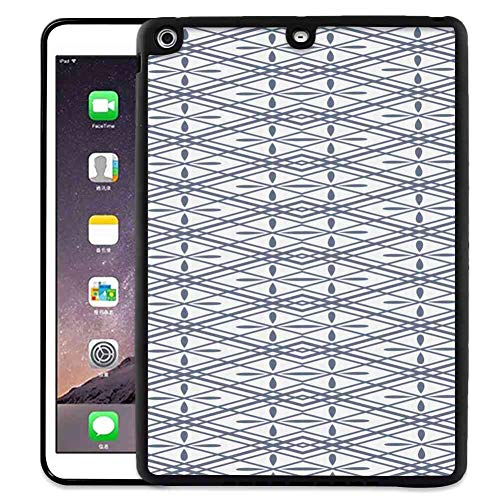 (iPad Air (2013) iPad 5 [2013] 9.7inch TPU+PC Case Geometric Floral Arrangement Pattern with Rhombus Shapes with Lines Crosses Symmetrical Grey White )