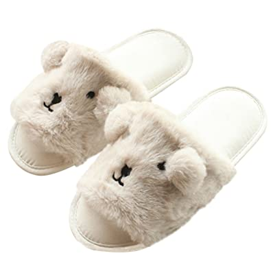 2ad6d34021d7 Women s Cute Plush Slippers Anti-Slip Soft Sole House Slippers Open Toe  Indoor Shoes White