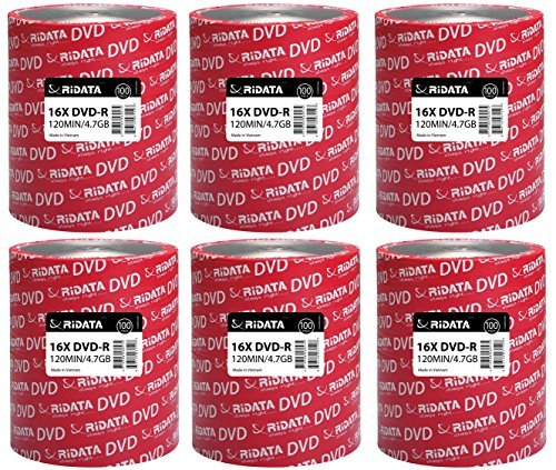 SIX RIDATA DVD-R 16X ECO 100 PACK SPINDLES, Total 600 DISCS
