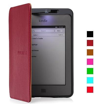 Mulbess® Amazon Kindle Touch Funda de cuero Piel Genuina con luz ...