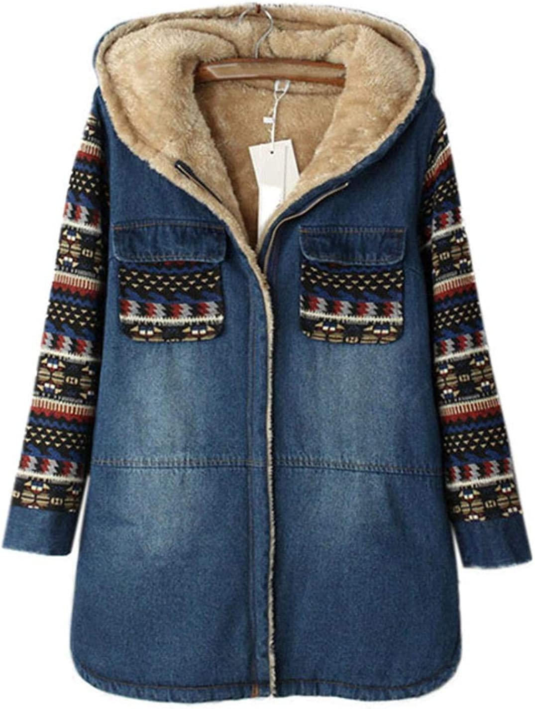 DJEA Womens Thick Loose Printed Cotton Suit College Wind Long Denim Jacket