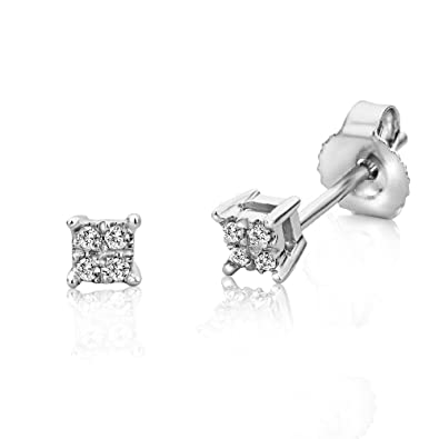 6c916966bdb21 Miore 9 kt (375) White Gold with Diamonds (0.03ct) Stud Earrings for Women