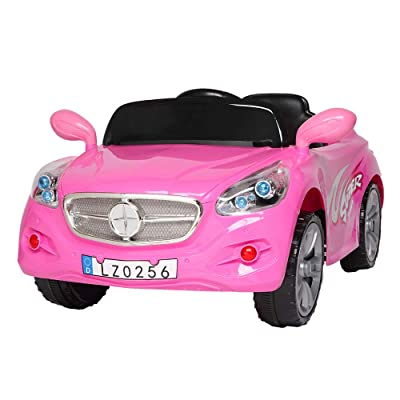 Uenjoy Electric Kids Ride On Cars 12V Battery Stroller Double Drive Motorized Vehicles W/ Wheels Suspension,2.4G Remote Control, Music,Radio, LED Headlights, Horn,Pink: Toys & Games