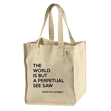 4d24cbb66969 Amazon.com  The World Is See Saw (Michel De Montaigne) Hemp Cotton Canvas  Market Bag Tote  Clothing