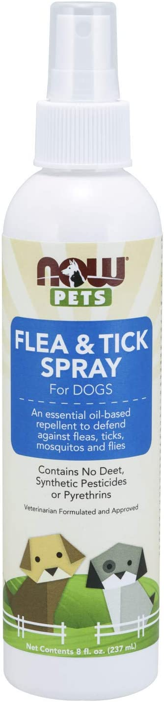 Now Foods Flea and tick spray for dogs, essential oil based repellent, no deet, 8 Ounce