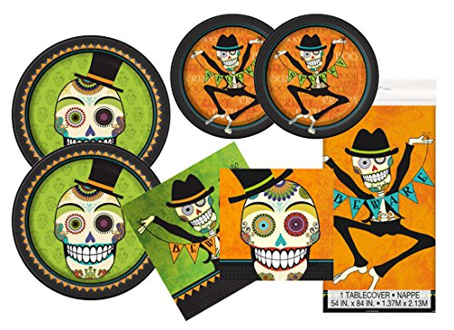 Halloween Day of the Dead Party Supplies Bundle: Serves 16 (Dead Person Halloween Costume)