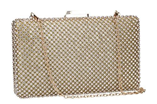 Geldbeutel frau MICHELLE MOON pochette gold Zeremonie mit strass VN56
