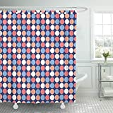 Cerise Pink Shower Curtain Emvency Shower Curtain Set Waterproof Adjustable Polyester Fabric Colorful Abstract Funky Dot Pattern in Shades of Pink and Blue Purple Cerise 72 x 78 Inches Set with Hooks for Bathroom