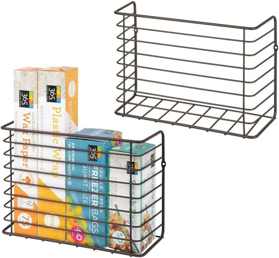 mDesign Farmhouse Metal Wire Wall & Cabinet Door Mount Kitchen Storage Organizer Basket Rack - Mount to Walls and Cabinet Doors in Kitchen, Pantry, and Under Sink - 2 Pack - Bronze