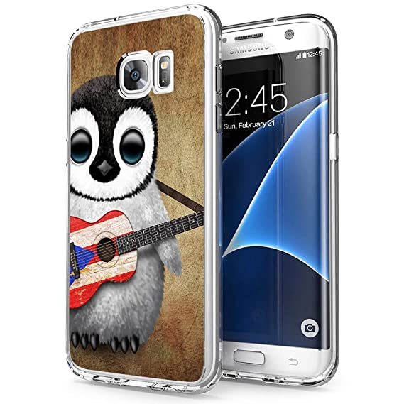 the best attitude 1ed44 64912 Penguin Playing Guitar Samsung Galaxy S7 Edge Case Clear, by Milostar  Design TPU Clear Protective Shock-Proof Cover, Case for Samsung Galaxy S7  Edge ...