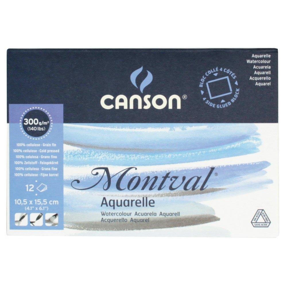 Bloc 12 feuilles Montval® (collées 4 côtés) 10,5x15,5 300g/m², grain fin blanc naturel Canson 200006532