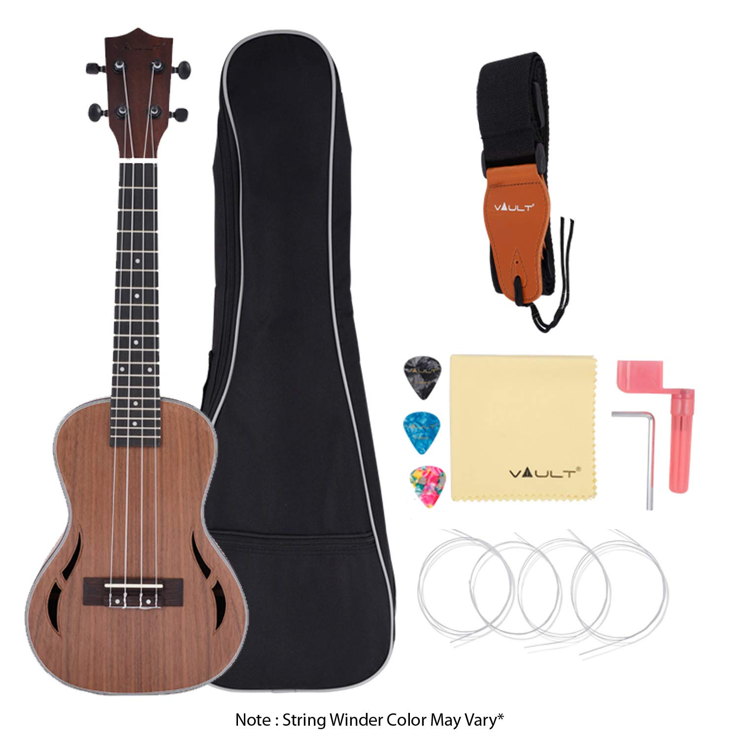 Vault UK-200 24-Inch Concert Ukulele With Gig bag, Strings, Polishing Cloth, String Winder and Picks product image