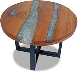 (Patio & Garden Furniture) Solid Teak Wood Coffee Table Resin Handmade Paint Finish Side End Couch