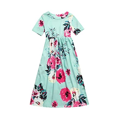 1896eafd93f1f Girls Dresses for 1-10 Years,Internet Fashion Toddler Baby Girl Kid Flower  Print Princess Party African Dresses Style Maxi Dresses for Women Summer