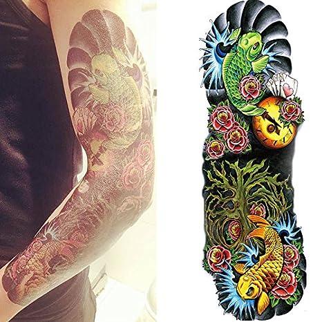 3b976693f Amazon.com : Kotbs 4 Sheets Extra Large Full Arm Temporary Tattoo  Waterproof Tattoos Sticker for Men Women Makeup Body Art Fake Tattoo Sleeves  Designs : ...