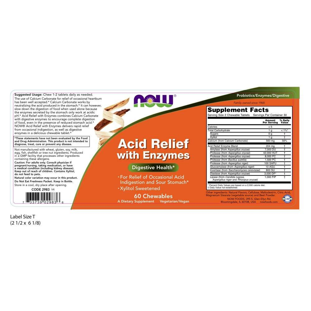 Amazon.com: NOW Acid Relief with Enzymes,60 Chewables: Health & Personal Care
