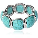 TS Women's Retro Charm Stretch Simulated Turquoise Bracelet