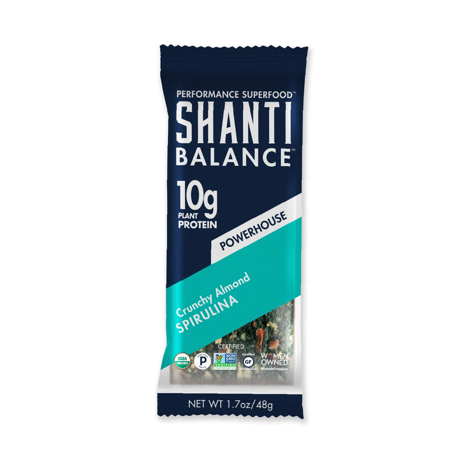 SHANTI BAR | 10G Plant Based Protein | Performance Superfood | Vegan Sport Protein Bar | Paleo, Certified Organic, Low Glycemic, Gluten Free, Raw Healthy Snack with No Refined Sugars | POWERHOUSE Crunchy Almond Spirulina | 6 Count, 1.7 oz Bars