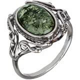 HolidayGiftShops Sterling Silver and Baltic Green Amber Ring Georgine