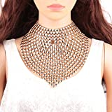 Gabrine Womens Girls Vintage Openwork Bib Collar Necklace Choker Necklace Long Necklace for Wedding Bridal Party Prom(Gold)