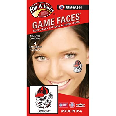 University of Georgia (UGA) Bulldogs – Waterless Peel & Stick Temporary Spirit Tattoos – 4-Piece – Athletic Bulldog Mark: Toys & Games