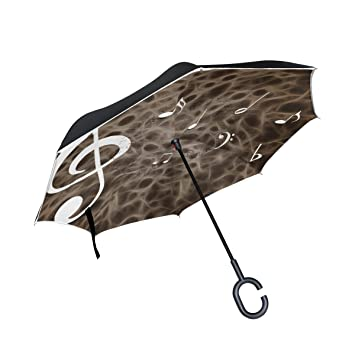 jstel invertida), doble capa paraguas de notas musicales coches Reverse resistente al viento lluvia