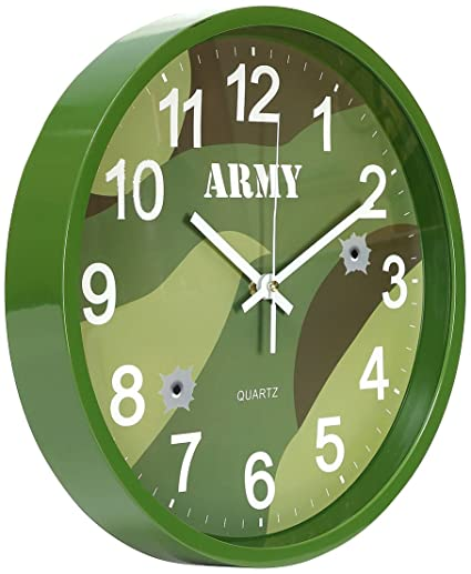 Kids Army Bedroom Camouflage Wall Clock With Nice Display Box