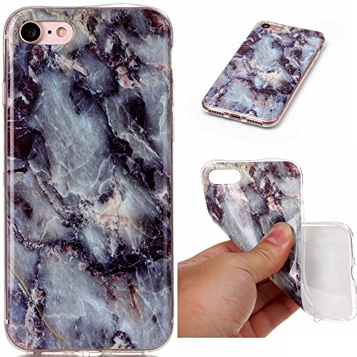 JIALUN-carcasa de telefono Apple IPhone 7 caso Marble Stone patrón de la caja suave IMD híbrido brillante TPU Soft Silicone Shell cubierta protectora de la contraportada para Apple iPhone 7 ( Color :  4