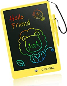 LCD Writing Tablet CARRVAS 10 Inch Colorful Drawing Pad for Kids Erasable Reusable Electronic Doodle Board Educational Learning Toy Gifts for 3 4 5 6 7 Years Old Toddler Boys Girls Home School(Yellow)