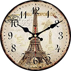 ShuaXin French Country Style Eiffel Tower Wooden Round Decorative Wall Clock (16, B)