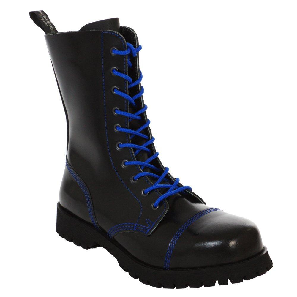 Stiefel & Braces - 10 Loch schwarz mit Blauer Naht Stiefel Rangers