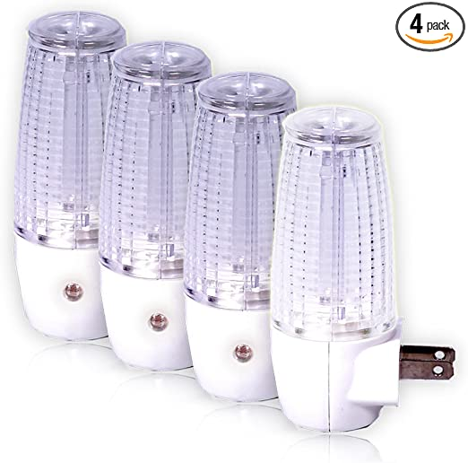 pack of 4 5 Lumens Maxxima MLN-16 LED Plug in Night Light with Auto Dusk to Dawn Sensor