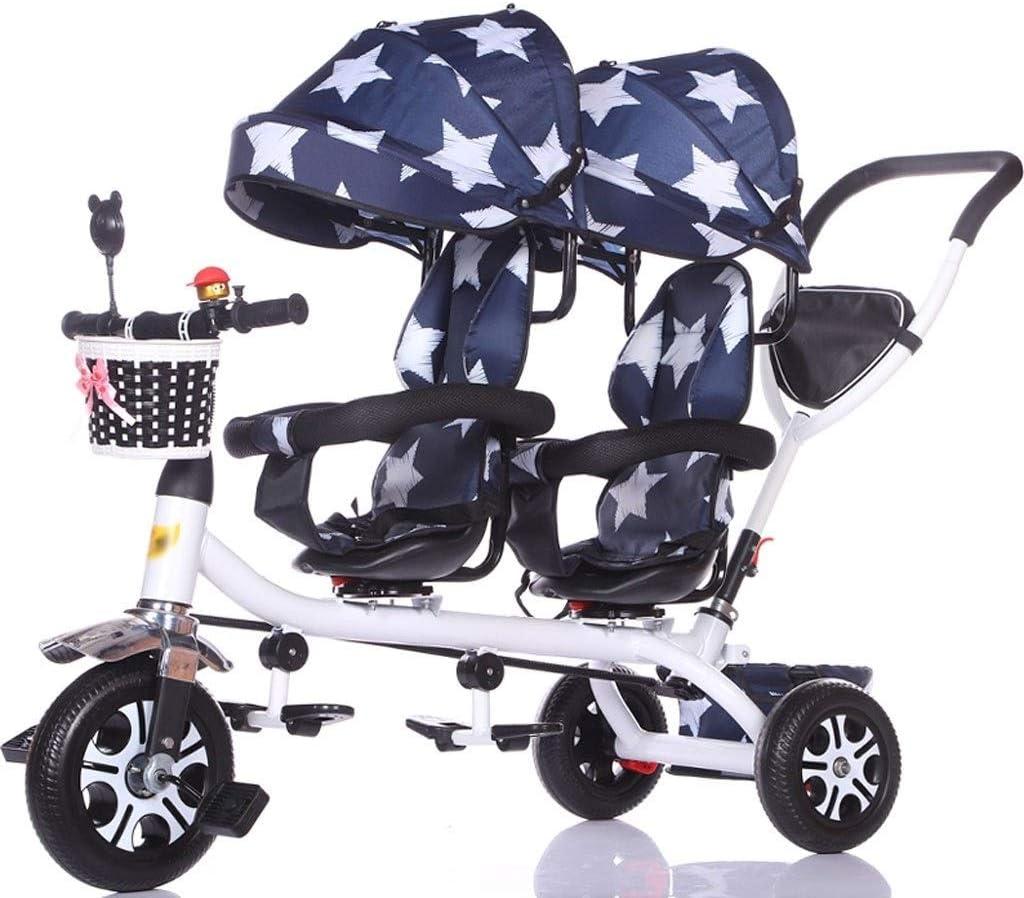 Sillas de paseo ligeras Carrito de viaje for bebé Triciclo doble for niños Trolley de bicicleta for bebés gemelos Carrito grande Carrito grande Cesta de almacenamiento de toldo extendido Carritos y si