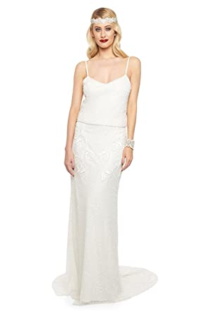 gatsbylady london Chicago Vintage Inspired Maxi Dress in Off White (US8 EU40)