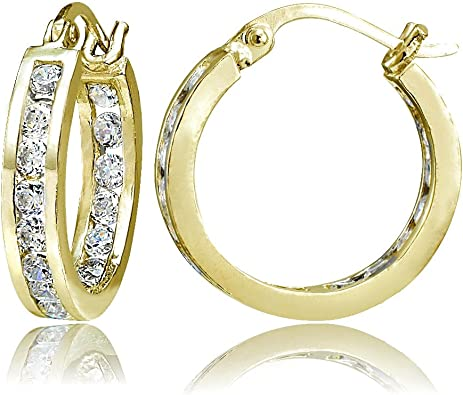 cubic zirconia yellow gold crytal earrings Hoop earrings gold hoops gold earrings chandelier earrings