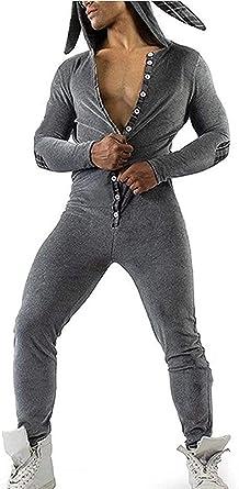 TSQFE Pijama de una pieza para hombre, con solapa a tope, de ...