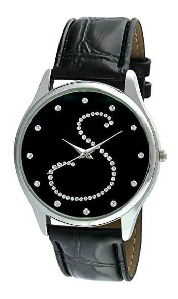 Women's V1650B-S Silver Tone Round Crystal Dial Initial