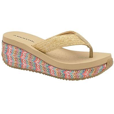 b6543853821 Dunlop Ladies Toe Post Low Wedge Flip Flops Raffia Beach Summer Sandals  Shoes Size 3-