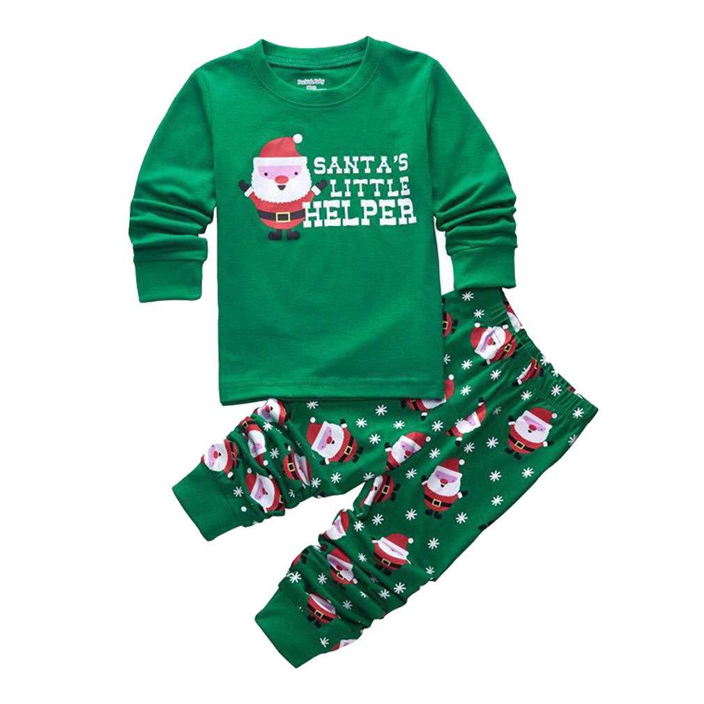 Mxssi Conjunto de Pijamas Familiares de Navidad Estampado de Santa Claus Niñas Niños Sleepsuit Trajes Bebé Chicos Invierno Caliente Jersey + Pantalones 0-8 Años