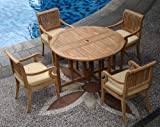 TeakStation 4 Seater Grade-A Teak Wood 5pc Dining Set: 48″ Round Butterfly Table and 4 Giva Arm Chairs #TSDSGV2 Review