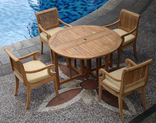(TeakStation 4 Seater Grade-A Teak Wood 5pc Dining Set: 48