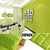 Green Color Foam Wallpaper Sticker For Boys Room Wall Decor, POPPAP 3D Foam Brick Panel Peel And Stick Wallpaper Self-adhesive Removable Wall Paper for TV Background, Children Room, Bedroom/ 20 PACK